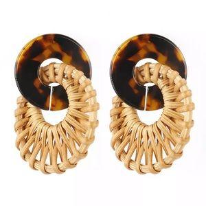 RESTOCKED/BOGOF Tortoise shell & rattan earrings